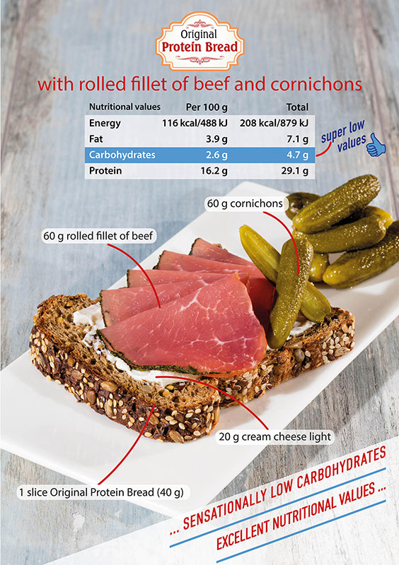 Protein Bread with Rolled Fillet of Beef and Cornichons