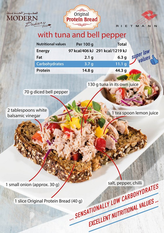 Protein Bread with tuna and Bell Peppers